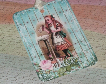 Gift Tags Alice in wonderland Gift tags with seam binding Vintage Inspired