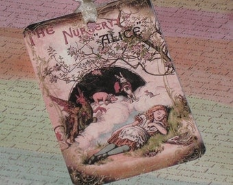 Gift Tags Vintage Alice in Wonderland Gift Tags with Seam Binding ATC