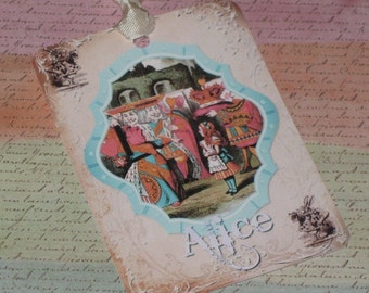 Set of Six Vintage Alice in Wonderland Gift Tags with Seam Binding