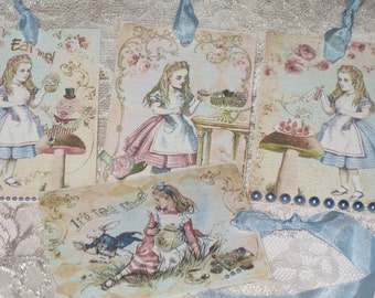 Vintage Alice in Wonderland set of 4 Assorted Vintage Gift Tags ATC Canvas Paper Altered Vintage Gift Tags with Seam Binding