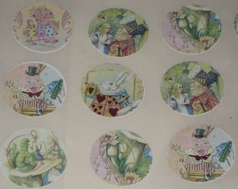 Vintage Alice in Wonderland Sticker Seals Round Vintage Altered with Glimmer for Vintage Glitz