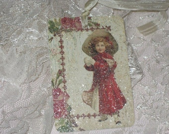 Set of Six Vintage Christmas Gift Tags with Seam Binding and Mica Flakes to give it that holiday glimmer and glitz