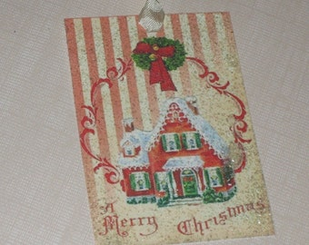 Vintage Gift Tags Vintage Christmas with Mica Flakes for Vintage Glamour  and Glitz, Merry Christmas House