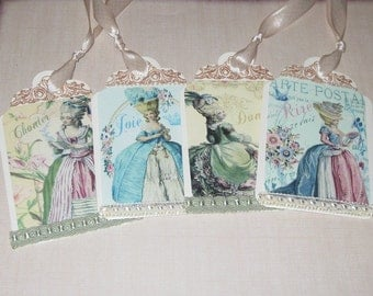 Marie Antoinette set of 4 Vintage Altered Gift Tags with Seam Binding Paris Versailles
