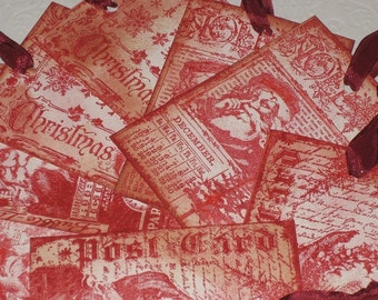 Vintage Inspired Christmas Hand Stamped Santa Gift Tags with Vintage Glitter ECS