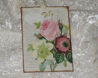 Set of Six Vintage Floral Gift Tags with Seam Binding that has been crinckled.