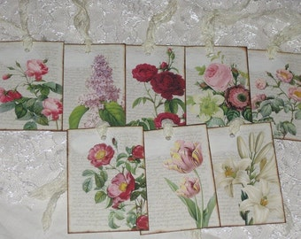 Set of Eight Assorted Vintage Floral Gift Tags with Seam Binding that has been crinckled.