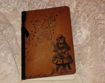 Handmade Moleskine Wish Notebook Altered with Alice in Wonderland
