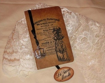 Handmade Moleskine Le Beau Monde Notebook Altered with French Writing and Marie Antoinette