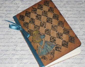 Custom Listing for mommacookie  Moleskine Notebook Altered with Alice in Wonderland