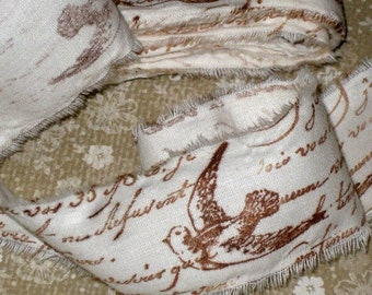 Muslin Paris Vintage Hand Stamped Ribbon French Script and Dove ECS