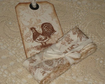 Handmade Vintage Muslin Ribbon 3 yards with Rooster Gift Tag