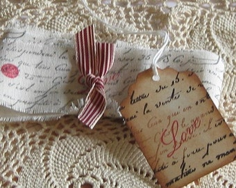 Hand Cut, Fringed and Stamped Vintag Muslin Ribbon with French Script and Love