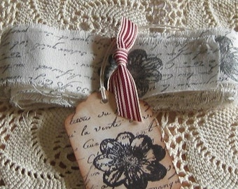 hand Stamped, Fringed and Cut Vintage Muslin Ribbon with French Script and Flower