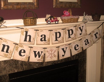 Vintage Extra Large Grand  Double Banner Garland Happy New Year