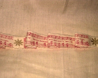 Christmas Collection Stamped Vintage Muslin Ribbon with Gold Star and Christmas Music Notes