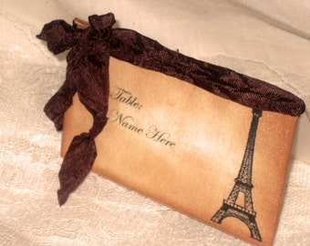 Vintage Style French Elegant Wedding Place Cards with Eiffel Tower Original Design