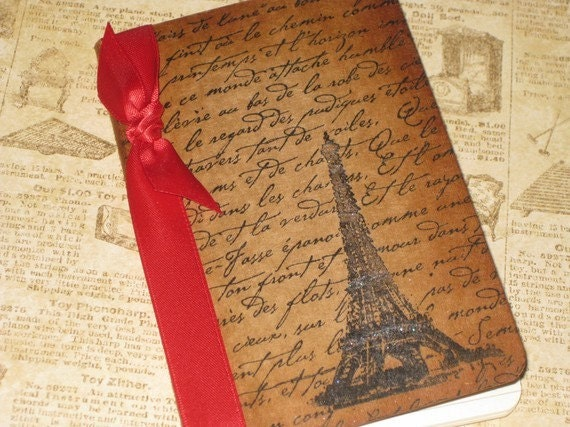 Handmade Moleskine Notebook Altered with French Script and The Eiffel Tower