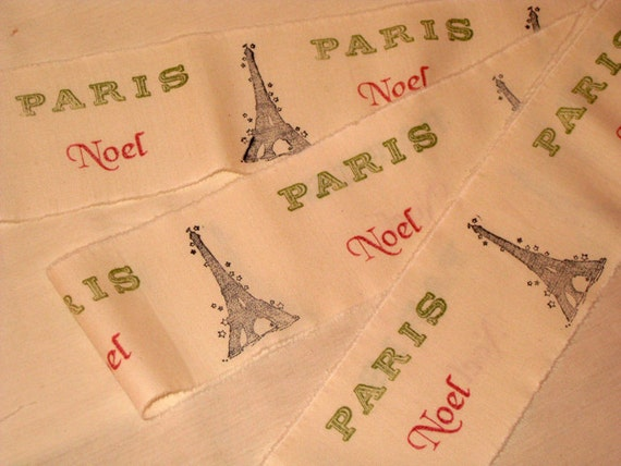 Christmas Collection Stamped Vintage Muslin Ribbon Paris Noel Eiffel Tower ECS