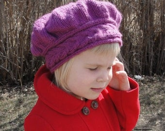 "HAT PATTERN Instant Download - Knit Hat, Girls' Hat, Woman's Hat, ""Lucy Pevensie Tam"" - Quick-Knit, Sizes Toddler through Adult"