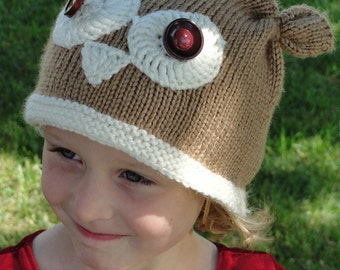 """Instant Download  - Owl Girls' Hat, Boys' hat, toque, beanie, """"Owl Eyes On You"""" - Quick-Knit PDF Pattern, Sizes 6 mo. through 4 yrs."""
