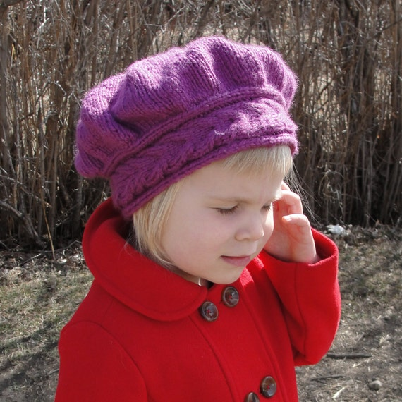 """HAT PATTERN Instant Download - Knit Hat, Girls' Hat, Woman's Hat, """"Lucy Pevensie Tam"""" - Quick-Knit, Sizes Toddler through Adult"""