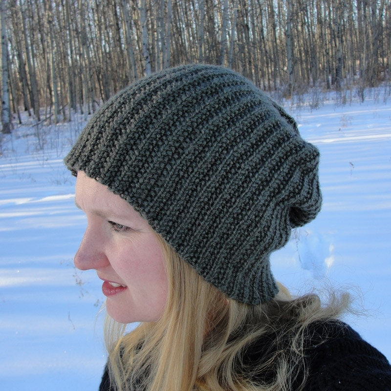Knitting Pattern Beanie Hat Double Knitting : Knit HAT PATTERN Brock Beanie Toque Slouch
