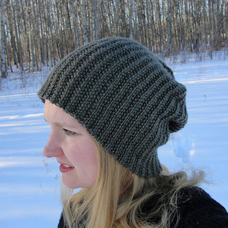 Knit Pattern Beanie Easy : Knit HAT PATTERN Brock Beanie Toque Slouch