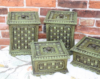 Set of 4 1970's Green Kitchen Canisters