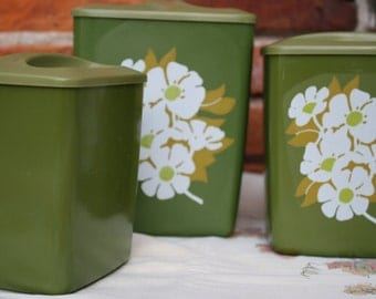 Set of 3 Green Vintage Kitchen Canisters