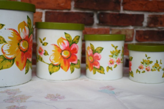 Kitchen Canister Set - Floral and Chippy