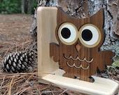 Wooden Owl Bookend: Heirloom Kids Wood Bookend Nursery Children
