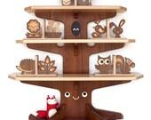 Happy Tree Bookshelf with 4 Wood Animal Bookends