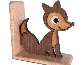 Wood Fox Bookend: Heirloom Kids Wooden Bookend Woodland Animal