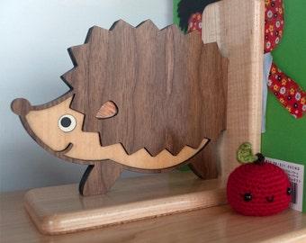 Hedgehog Wooden Animal Bookend Heirloom: Baby Nursery Kids