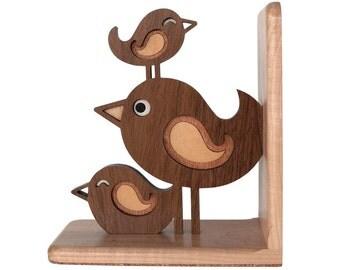 Bird Stack Bookend: Wood Heirloom Baby Nursery Children