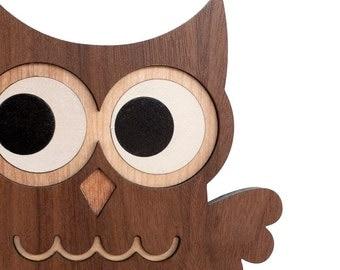 Wood Owl Bookend: Heirloom Kids Baby Nursery Children