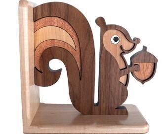 Squirrel Wooden Animal Bookend Heirloom: Kids Baby Nursery Children