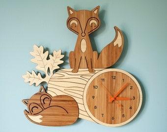 Bamboo Fox Wall Clock: Wood Animal Kids Clock Woodland Nursery Decor