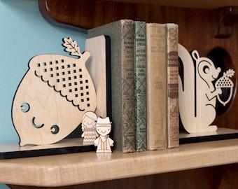 Happy Acorn Wood Bookend- Modern Baby Nursery Children