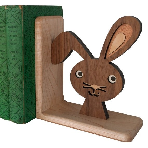 Wooden Bunny Book End: Heirloom Kids Baby Nursery Children