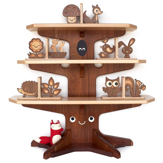 Happy Tree Bookshelf with 4 Wood Animal Bookends