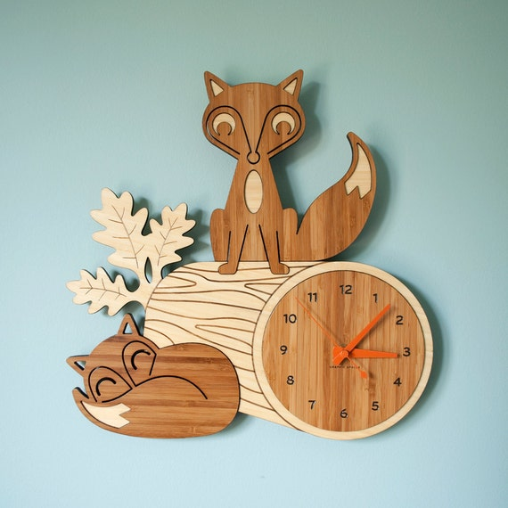 Bamboo Fox Wall Clock Wood Animal Kids Clock Woodland Nursery