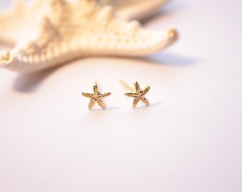 Tiny Starfish Stud Earrings, Starfish Post Earrings, 14 Karat Gold Plated over Sterling Silver