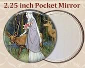 Pocket Mirror. Deer and woman