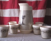 Island-Inspired Burlap Insulated Carafe and Matching 6 Mugs