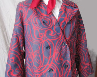 Vintage Navy and Red Raincoat