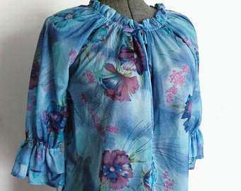 Sweet and Sheer Peasant Blouse in Blue