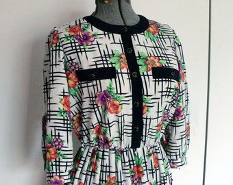 1980s Black and White Hashmark Dress with Flowers