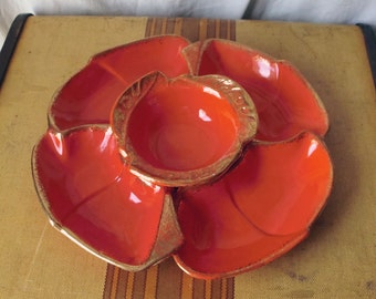 Bright Orange 1960s California Originals Chip and Dip Set